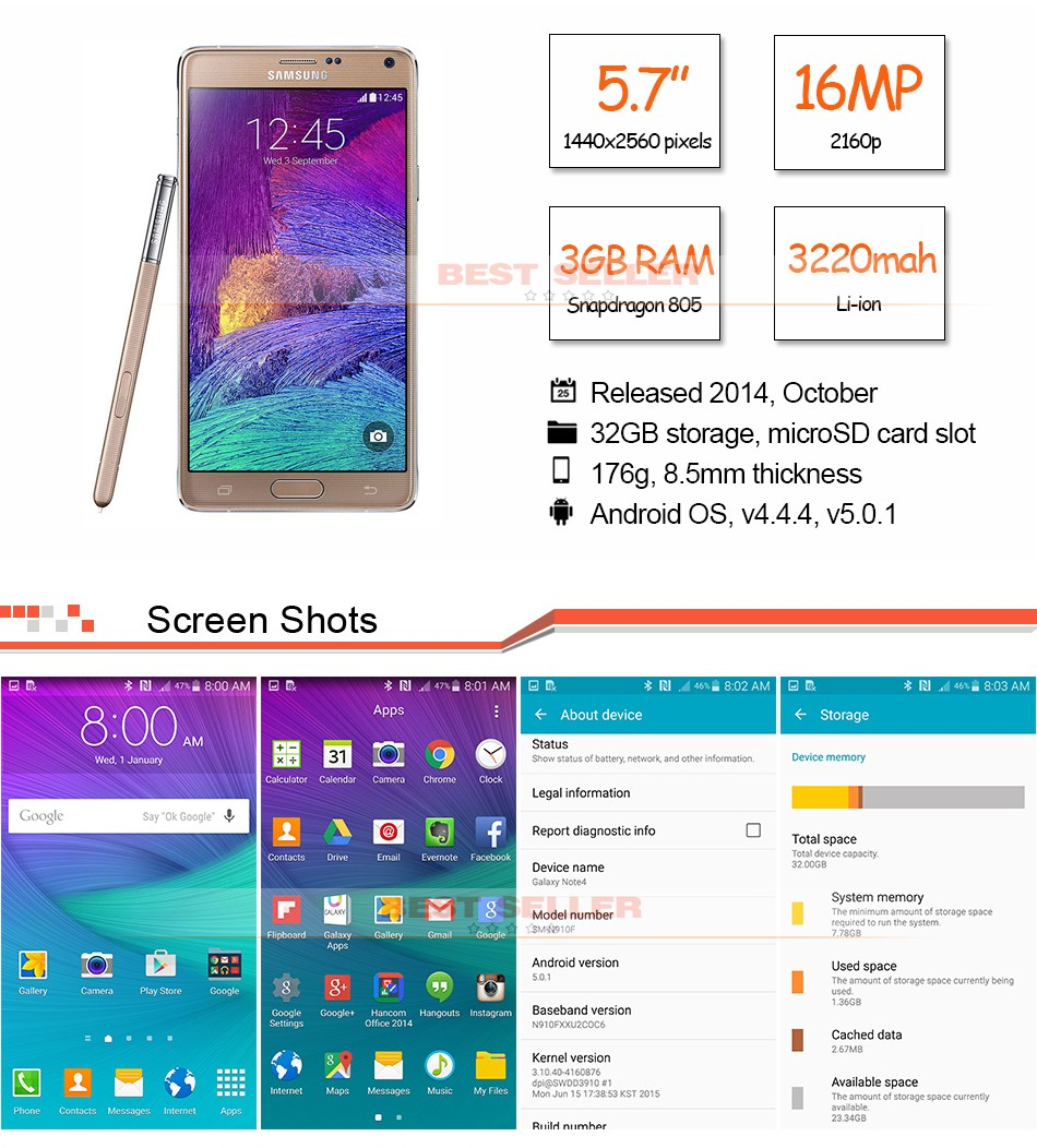 original Samsung Galaxy Note 4  4G LTE Mobile Phones 5.7 inch 16MP 32GB ROM Smartphones gold 1