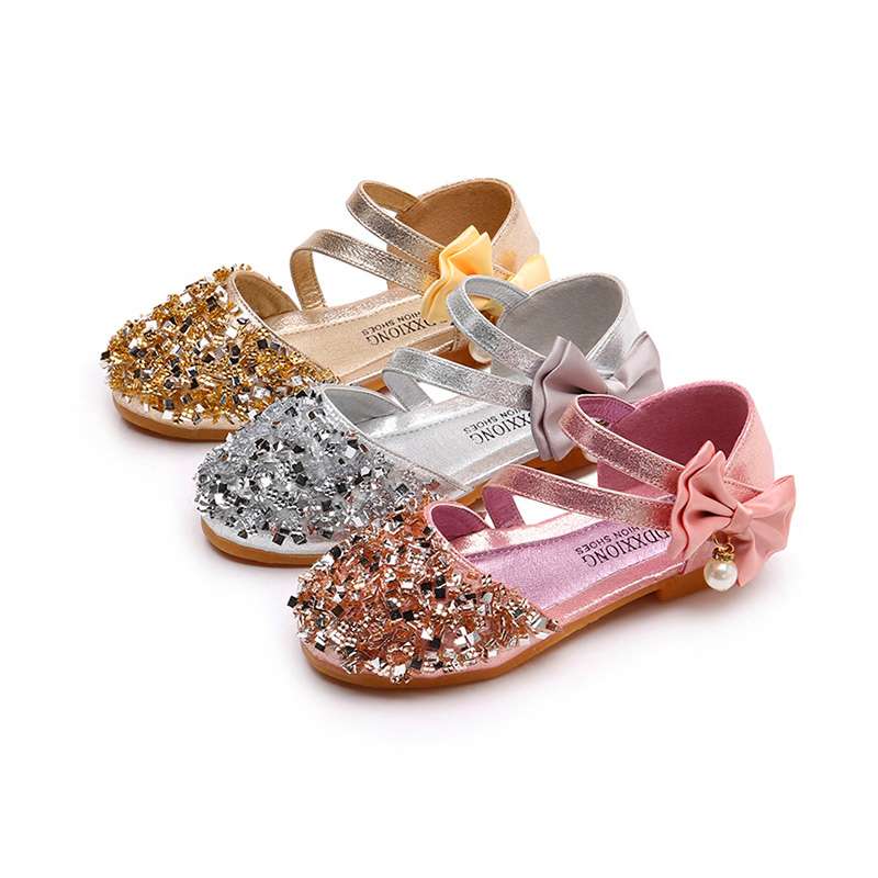 Super Cute Princess Shoes Pink Gold Silver Girls Shoes Glitter Rhinestone Sequins Kids Flats Children Wedding Party Dress Shoes
