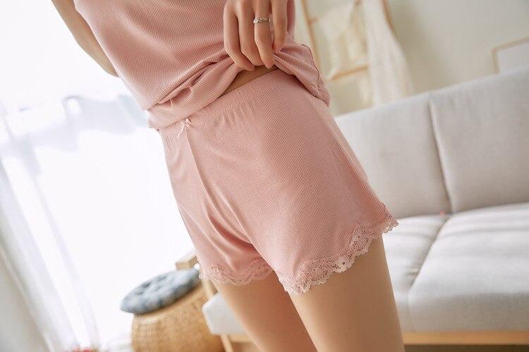 Two Piece Cotton Pajama Set Sexy Lace Top And Shorts Pyjamas Spaghetti Strap Sleepwear High Elastic Pijama Nightie Home Clothes 6