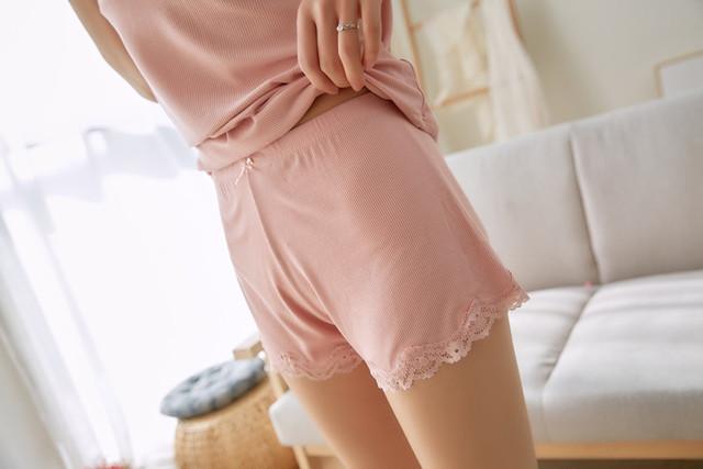Two Piece Cotton Pajama Set Sexy Lace Top And Shorts Pyjamas Spaghetti Strap Sleepwear High Elastic Pijama Nightie Home Clothes