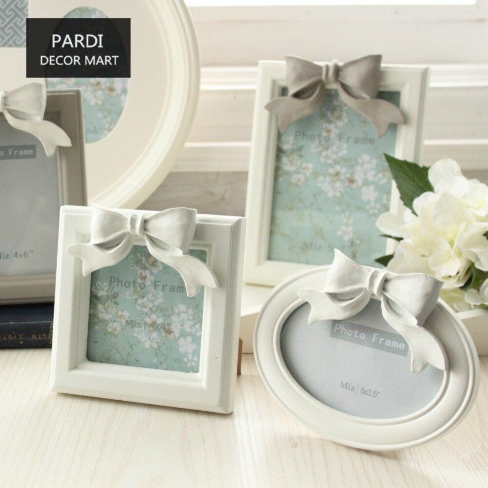 Korean style Wood resin bowknot photo frame home decoration Family photo frame wedding gift 1pc/lot