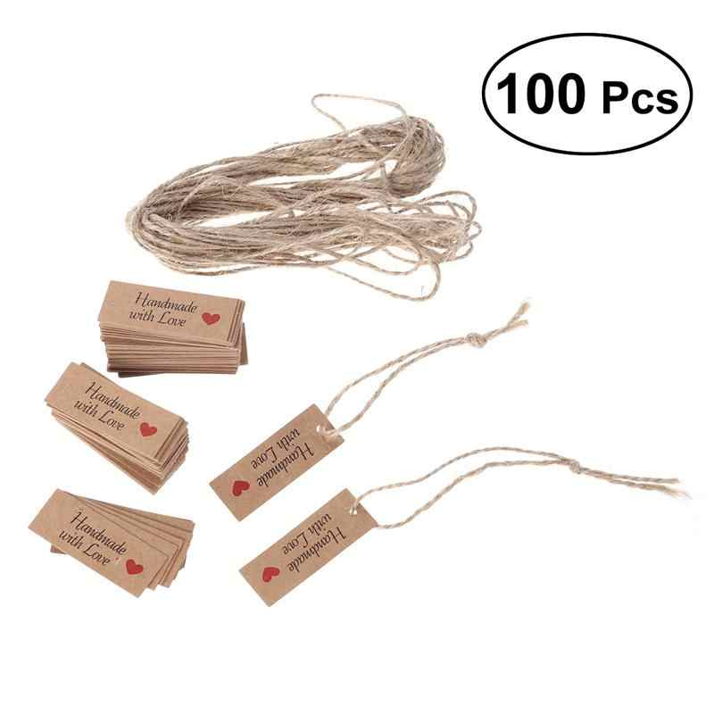 100pcs Kraft Paper Tags with Strings Gift Favors Baking Food Package Tags Handmade with Love Card Hanging Labels