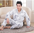 2016 Spring Fall Winter Men 100% Cotton Pajamas Set of Sleepcoat & Trousers Adult Casual Sleepwear & Nightclothes Plus Size 4XL
