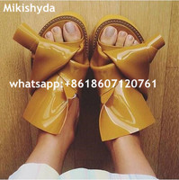 Knots Fashion Patent Leather Slides 2016 New Fashion Designer Women Casual Flats Sandals EVA Flip Flops