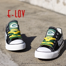 Wisconsin Green Bay Packers Super Bowl Printing Canvas Shoes Elite Aaron Rodgers MVP Champ Fans Customize