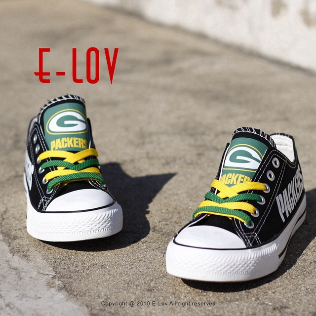 33519700f2b0 Wisconsin Green Bay Packers Super Bowl Printing Canvas Shoes Elite Aaron  Rodgers MVP Champ Fans Customize