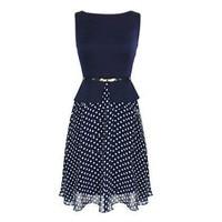 TFGS New Design Women Summer Chiffon Dress Vintage Polka Dot Formal Sleeveless Fit And Flare Dress