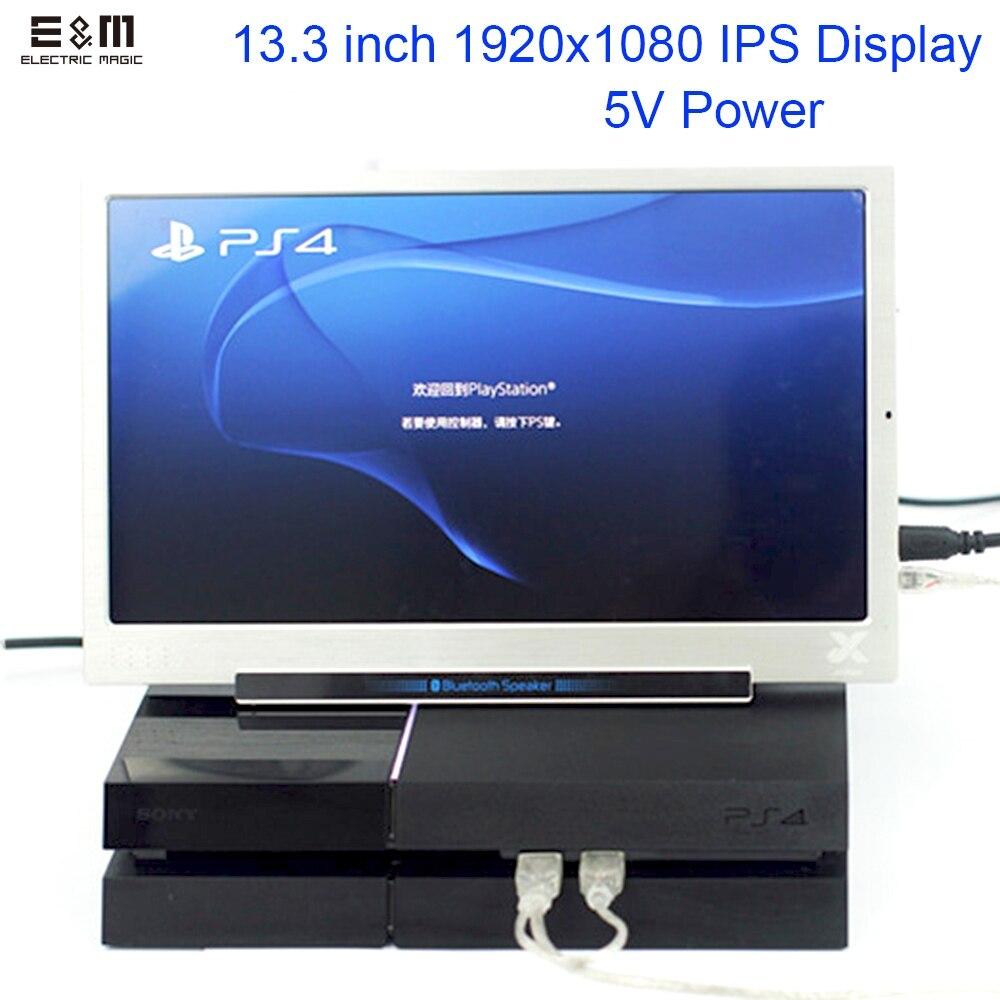 E & M 5 V Puissance 13.3 pouce 1920*1080 Portable Jeu Affichage IPS Mini HDMI 1080 P VGA USB Voiture Raspberry Pi 3 Moniteur LCD Module Diy Kit