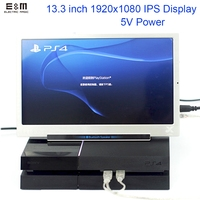 E&M 5V Power 13.3 inch 1920*1080 Portable Game Display IPS Mini HDMI 1080P VGA USB Car Raspberry Pi 3 Monitor LCD Module Diy Kit