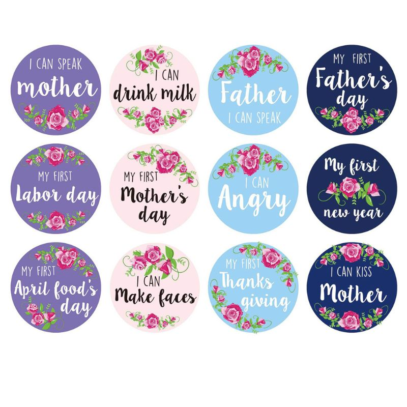 12Pcs/Set Baby Pregnant Women Monthly Photograph Sticker Fun Month Milestone Stickers DIY Kid Souvenirs Prop