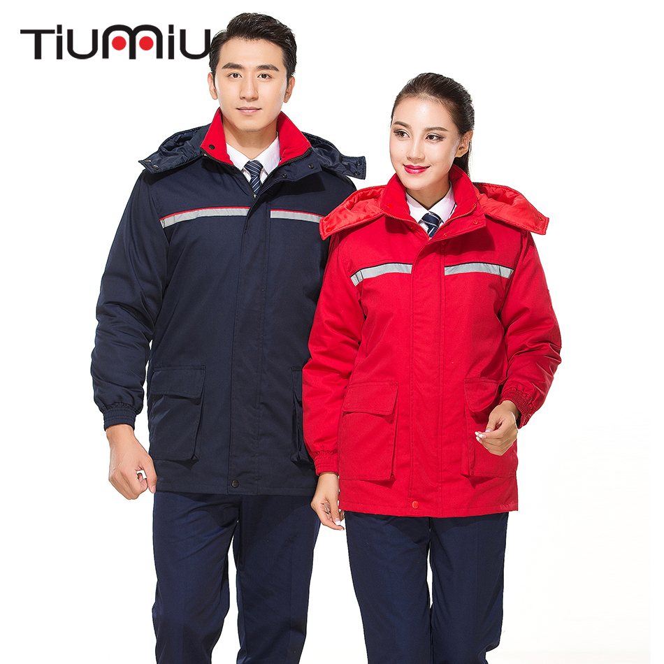 One Piece Warm Cotton Coat Unisex Work Wear Reflector Protective Clothing Men Patchwork High Quality Engineering Service Outside