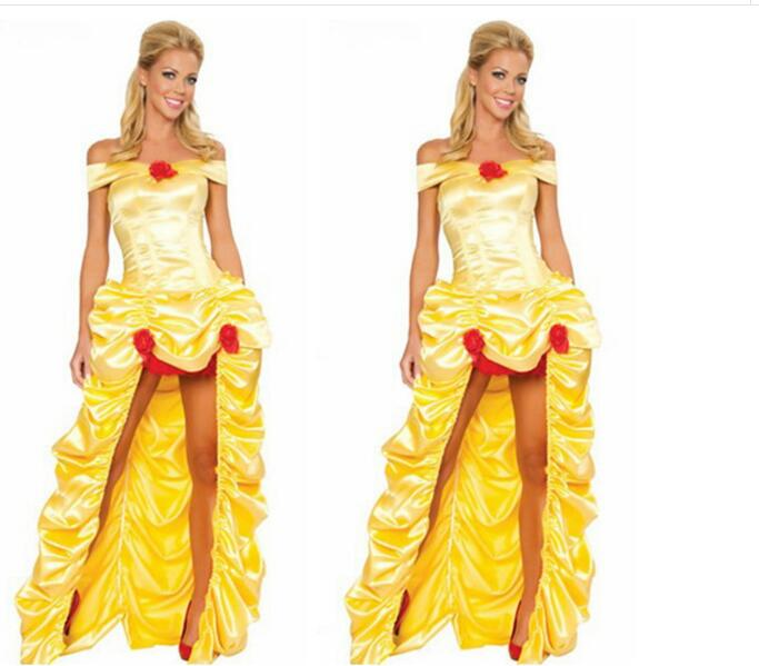 princess Belle Halloween Cosplay Costume Beauty And The Beast Costume Adult Girl Dress Party Carnival Fancy Costume