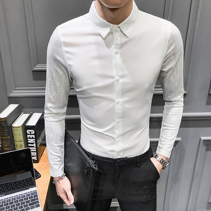 Image 3 - 2020 Spring New shirt dress brand all match men shirt long sleeve patchwork design solid mens shirts casual slim fit prom tuxedoTuxedo Shirts   -