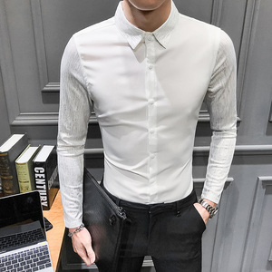 Image 3 - 2020 Spring New shirt dress brand all match men shirt long sleeve patchwork design solid mens shirts casual slim fit prom tuxedo