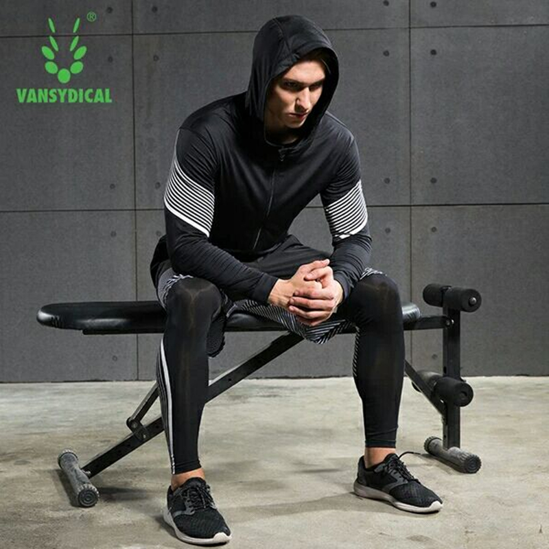 Hot Men's Running Sets 4pcs/set Compression Quick Dry Sports Suits Basketball Tights Workout Gym Fitness Kits Jogging Sportswear - 4