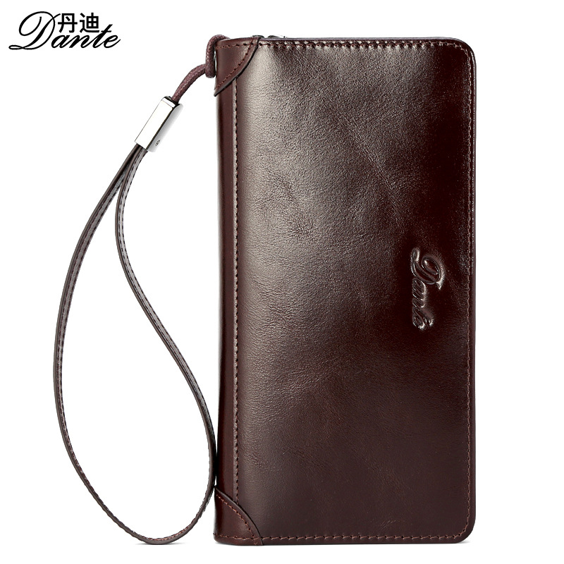 Dante 2017 Luxury Brand Men Business Wallet Long Vintage Purse Male Zipper Clutch handbag Genuine Leather Cardholder Wrist Strap curewe kerien brand men s genuine leather long zipper purse business wallet handbag