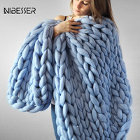 NIBISSER 2107 Fashion Scarves Thick Thread Blanket Winter Scarf Women Adults Warm Crocheted Scarf Female Home