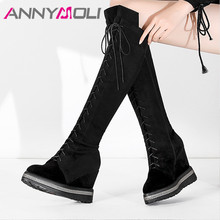 ANNYMOLI Fall Real Leather Knee High Boots Women Cow Suede Platform Wedge Heels Tall Boots Zip Super High Heel Shoes Lady Winter