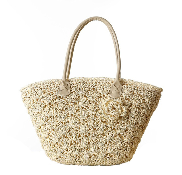 Wholesale straw bag double braided fan bread beach bag embroidered flowers  handbag 0f16e918ac8d7