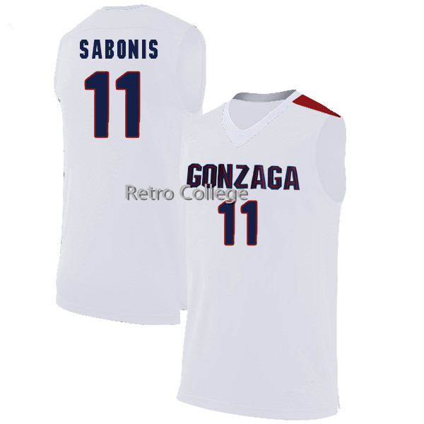 цена на Gonzaga Bulldogs #11 ARVYDAS SABONIS basketball jerseys Retro throwback stitched embroidery Customize any name number
