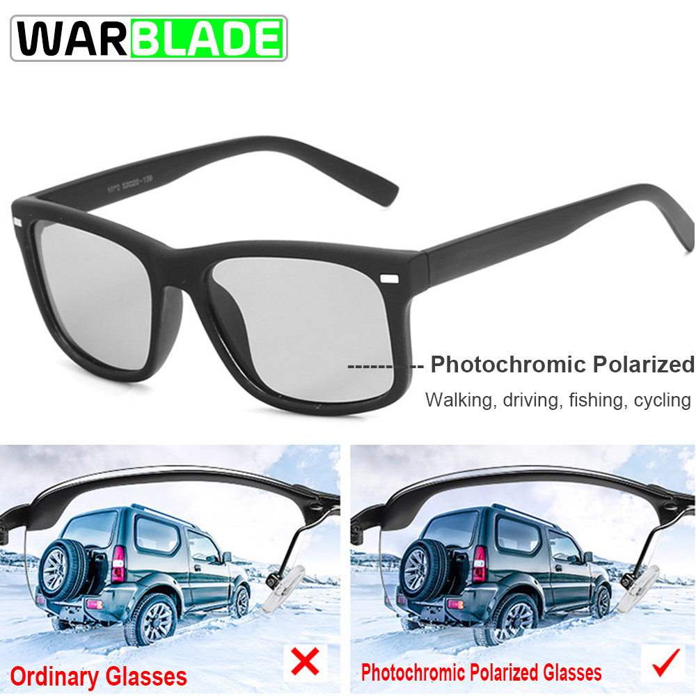 WarBLade Cycling Driving Men's Photochromic Polarized Sunglasses Vintage Eyewear For Men Women Coating UV400 Occhiali Ciclismo