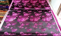 Chinese Silk Brocade Fabric Cheongsam Cushion Black Back With Plum Red Peony Flowers Pattern New Color
