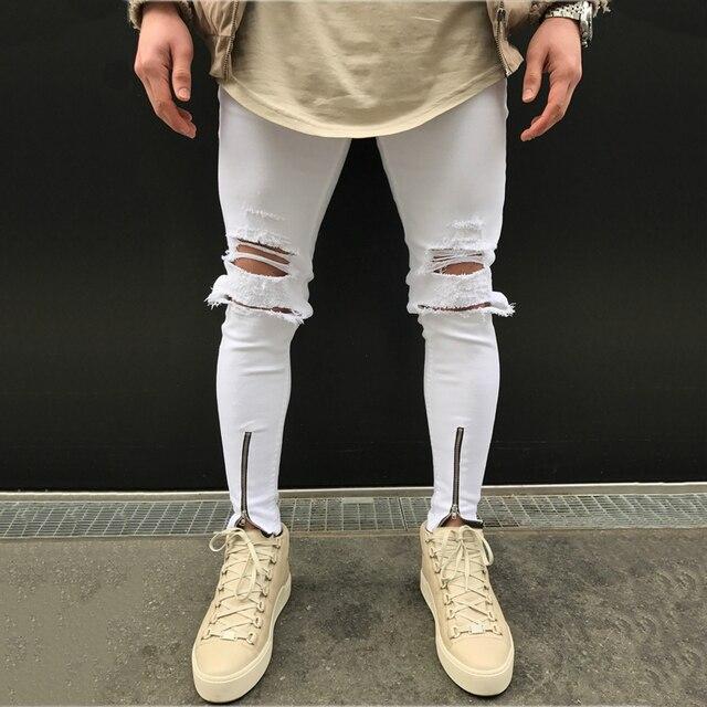 На молнии манжеты колено Holed мотобрюки Tight Distressed Jogger джинсы для женщин для мужчин Узкие рваные джинсовые штаны Белый Черный Синий