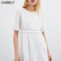 CHBBLF women embroidery hollow out mini dress white ruffles pleated dresses female casual short sleeve chic vestido C9606