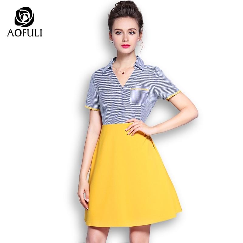 AOFULI M XXXL 4XL 5XL Fashion Stripe Print Dress Summer Contrast Patchwork Sundress Big Size Short
