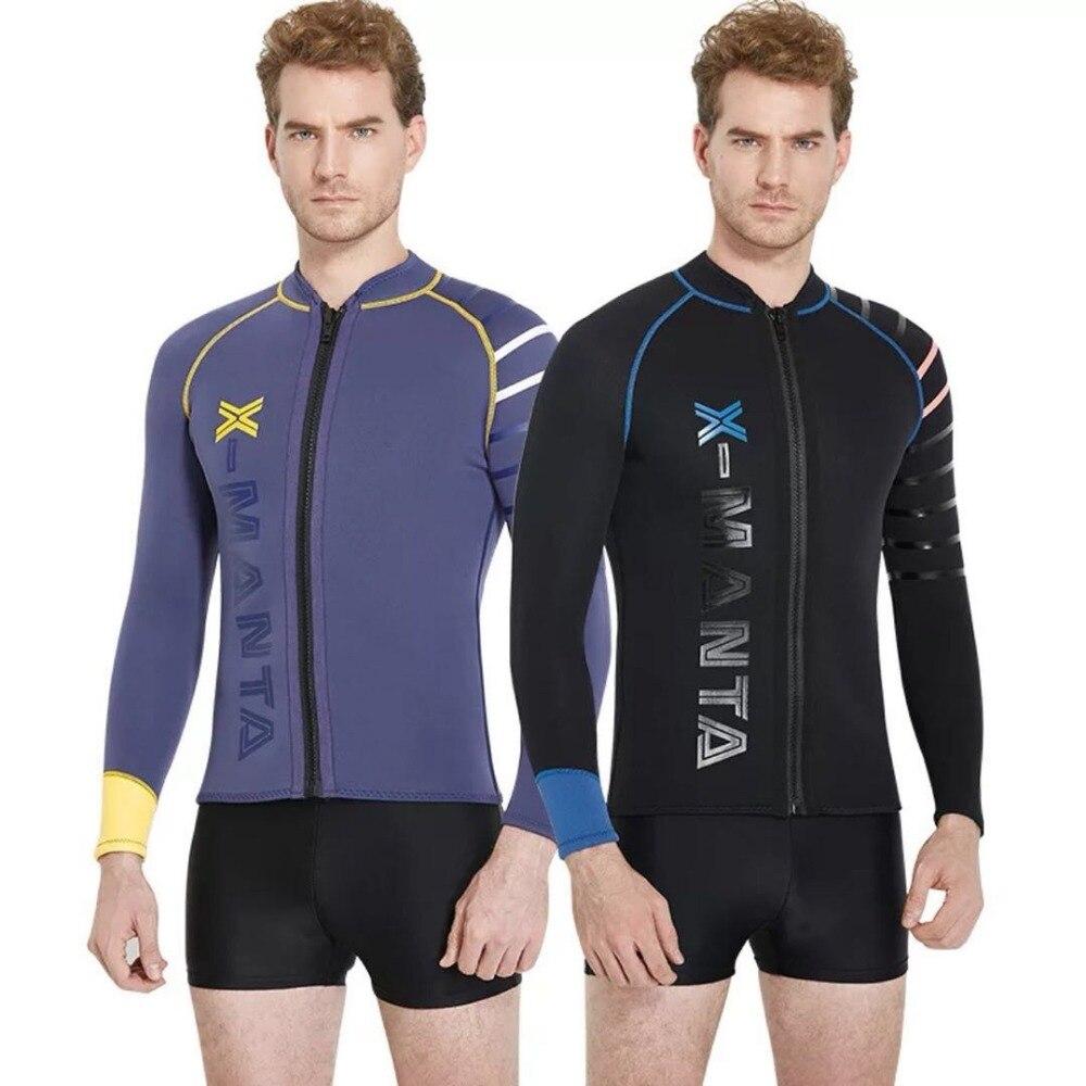 Buceo y vela de neopreno de 3mm SCR para Hombre Trajes chaqueta traje superior frontal de cremallera de manga larga negro buceo surf kayak Sutis