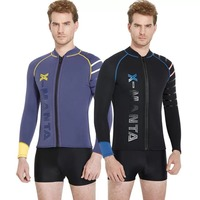 Dive & Sail 3mm Neoprene SCR Mens Wetsuits Jacket, Wet Suit Top Front Zip Black Long Sleeve Dive Surfing kayaking Sutis