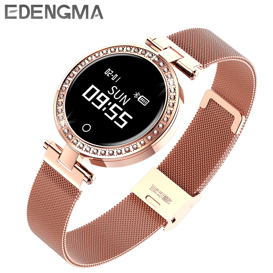 Women smart watch X10 Metal rhinestone strap Bluetooth fitness bracelet clock pedometer heart rate monitor waterproof