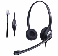Wantek Corded Telephone Headset Binaural Noise Canceling Microphone for Call Center Telephone Systems with Plt M10 M12 M22 MX10