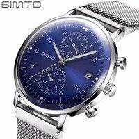GIMTO Men Watch Top Brand Luxury Stainless Steel Business Sport Chronograph Quartz Wrist Watch Men Clock