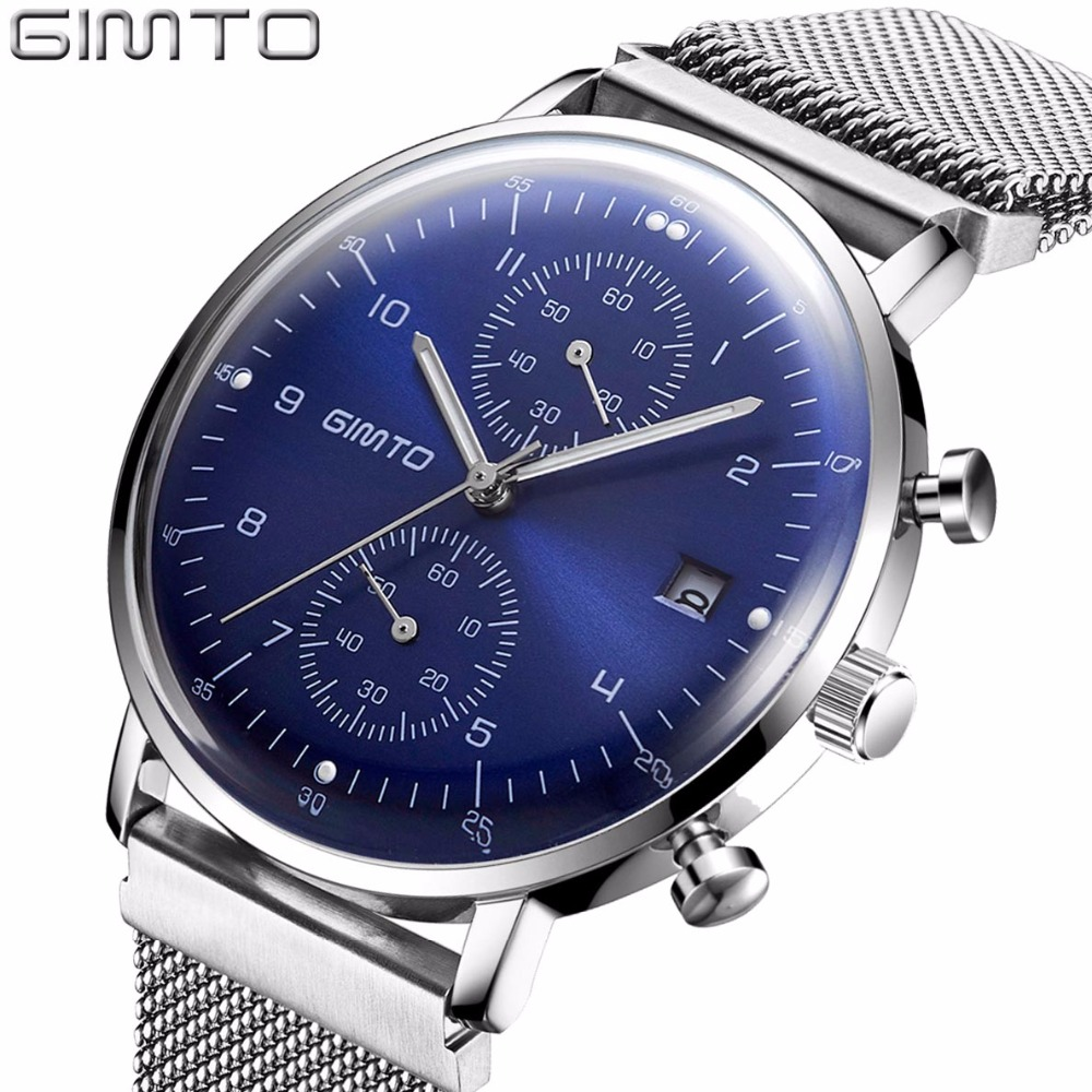 GIMTO Men Watch Top Brand Luxury Stainless Steel Business Sport Chronograph Quartz Wrist Watch Men Clock Male relogio masculino splendid brand new boys girls students time clock electronic digital lcd wrist sport watch