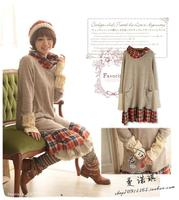 Autumn Winter Vintage Plaid Patchwork Spanish Vestido Curto Tunique Femme Robe De Plage Crochet Vestido Amarelo