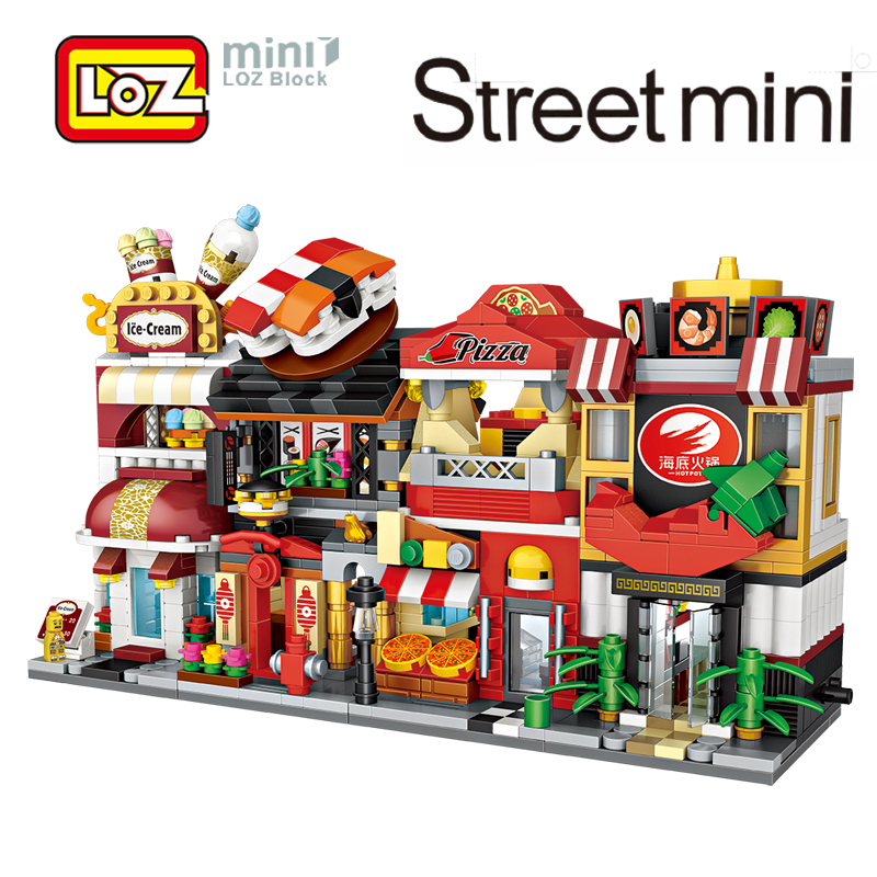 LOZ Mini Street Town Pizzeria Sushi Bar Ice cream Shop Restaurant Building Blocks Figure Toy For Ages 6+ Offical Authorized 10cm loz pirates of the caribbean jack salazar mini blocks brick heads figure toy assemblage toys offical authorized distributer