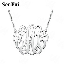 Senfai Custom Name Personalized Necklace Monogram Initial Big Pendants Necklaces Kids