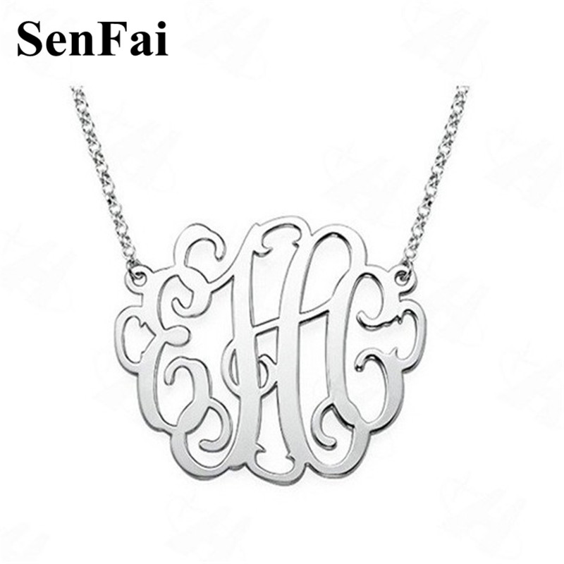 Senfai Custom Name Personalized Necklace Monogram Initial Big Pendants Necklaces Kids Jewelry For Women Girl Mothers day Gift