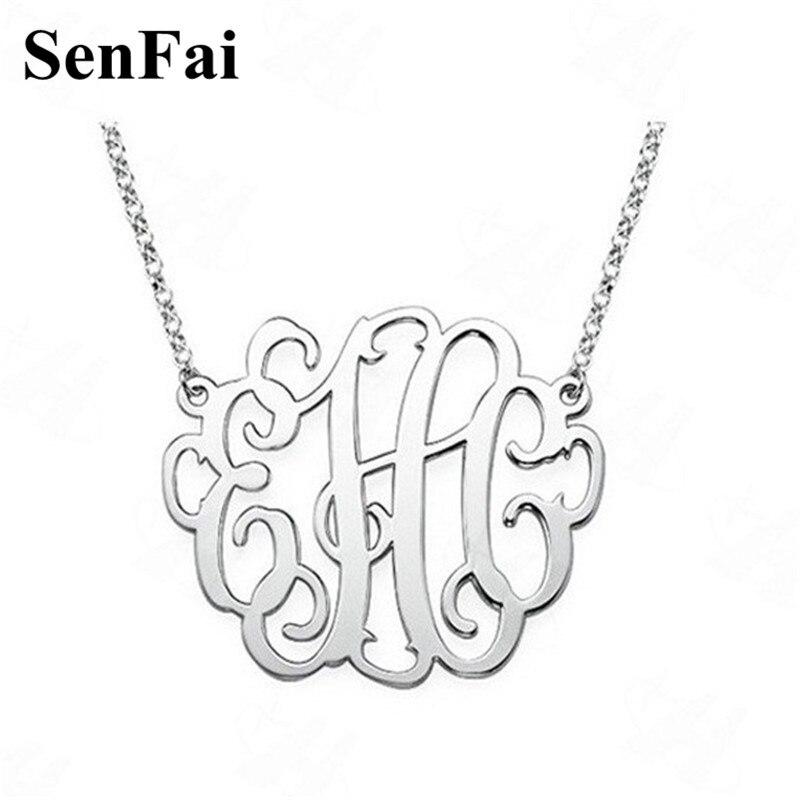 a748f4dff75d Senfai personalizado nombre personalizado collar monograma inicial grandes  colgantes collares niños ...