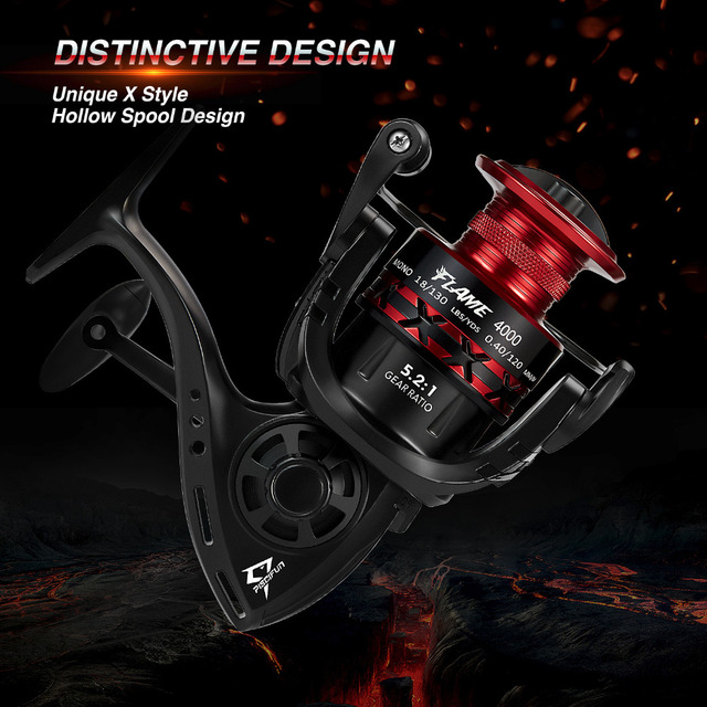 Flame Spinning Reel Light Spool Hollow Graphite Body X Shape 5.2:1 10 BB 9KG