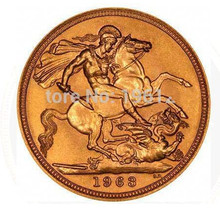 Free shipping 50pcs/lot, 1963 UK Queen Elizabeth II Sovereign coin, Round metal souvenir coin