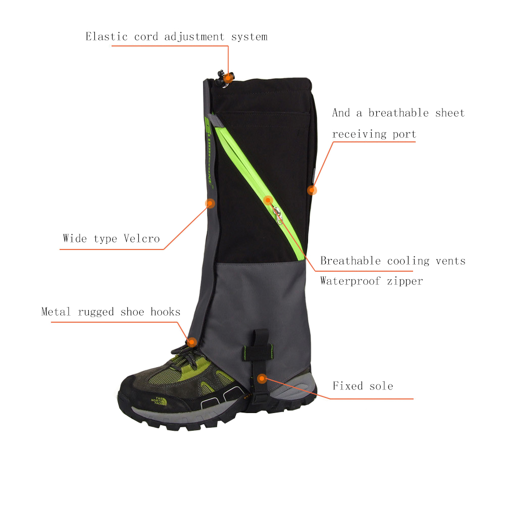2 Layers Waterproof Camping Hiking Snow Leg Gaiters Boots Outdoor Skate Skiing Walking S ...