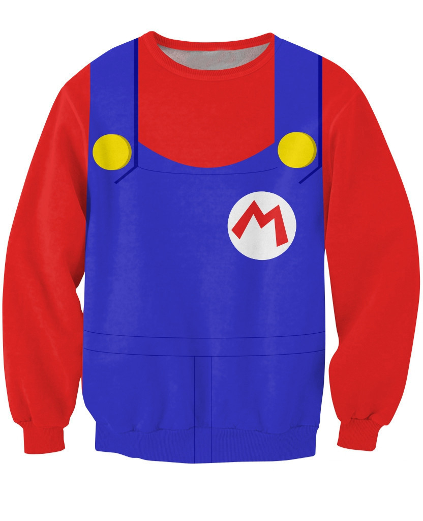 2015 New Arrive Mario Crewneck Sweatshirt costume for Halloween Sick Jumper Sexy Sweats  ...