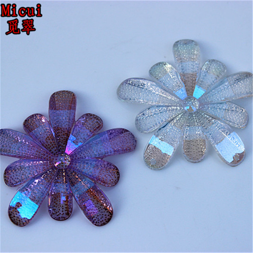 Micui 20pcs 40mm AB Acrylic Rhinestones Flat Back Flower Gems Button For  Clothes Dress Crafts Garment decoration ZZ69 045667aa6d62
