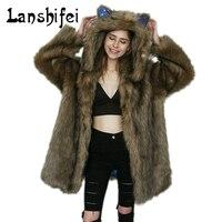 2017 New High quality Fur coat Winter Warm Women Coat Fashion Star Lining Car Ears Hat Hooded Long Hair Faux Fur Long Overcoat