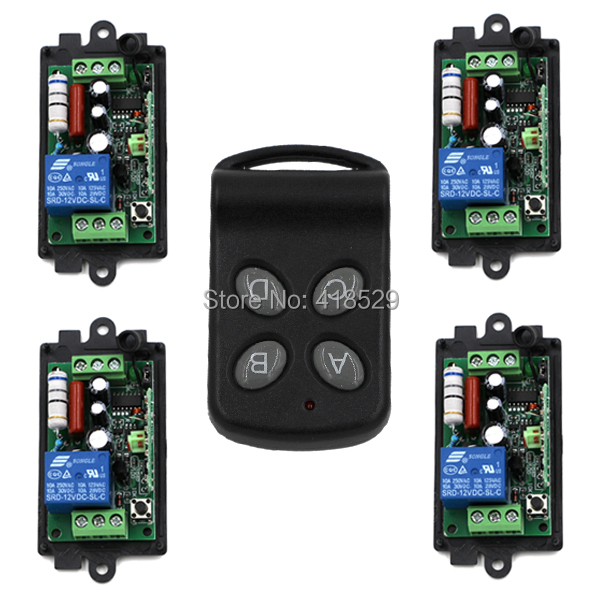 4ch rf switch remote control 220v,315/433MHZ Relay Wireless Remote Control Switch 1 Transmitter 4 Receiver SKU: 5072 tad yk40a 2a 1 220v wireless rf remote control relay switch transceiver receiver