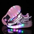 Crianças Iluminar Sapatos Com Rodas Crianças Sapatos Asas De Couro Luz CONDUZIDA Rolo Sapatos Meninas/Meninos Tênis Da Moda Com roda Flash