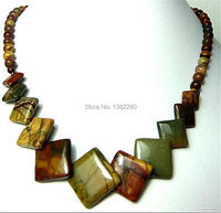 Free Shipping Natural 6 20mm Multicolor Picasso Jasper Round Square Pendant Necklace JT5182