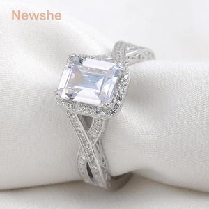 Image 2 - Newshe 925 Sterling srebrne wesele pierścienie 2.52 karatów AAA sześcienne cyrkonia pierścionek zaręczynowy dla kobiet rozmiar 9